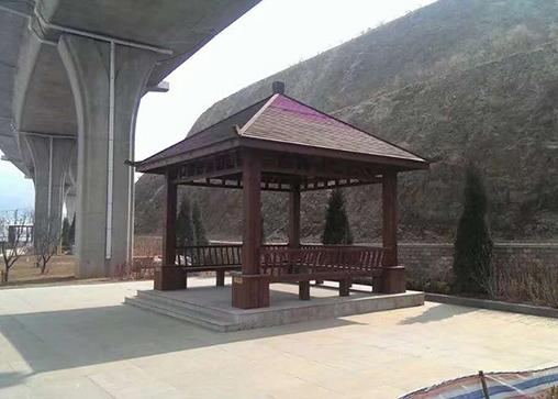 公园实木凉亭